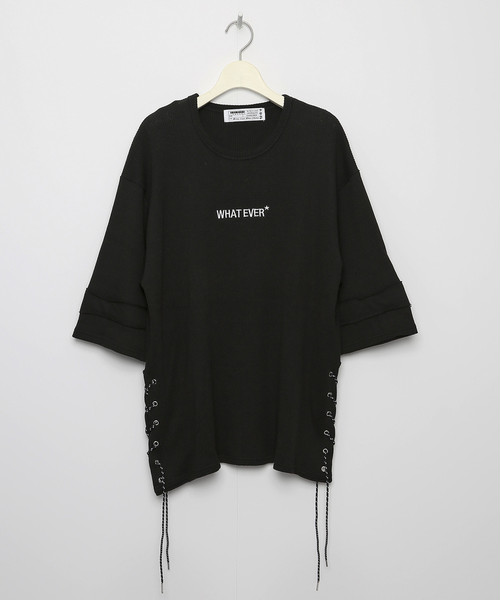 WHATEVER* Side Laced Waffle T-shirt [Black]