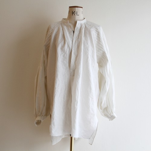 JUN MIKAMI 【 womens 】irish linen tuck-sleeve blouse