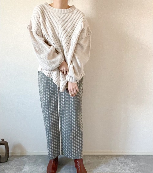【blue green】pattern skirt