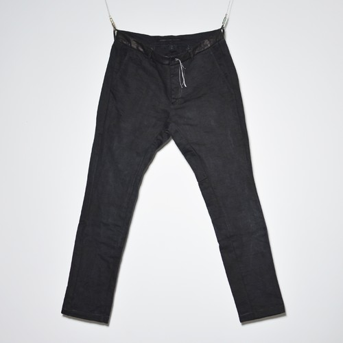 """Leather×Heavy Jersey """"Straight""""Pants 〈Over Dye Black〉"""