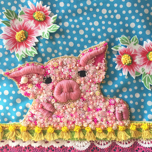 A little pig with flowers