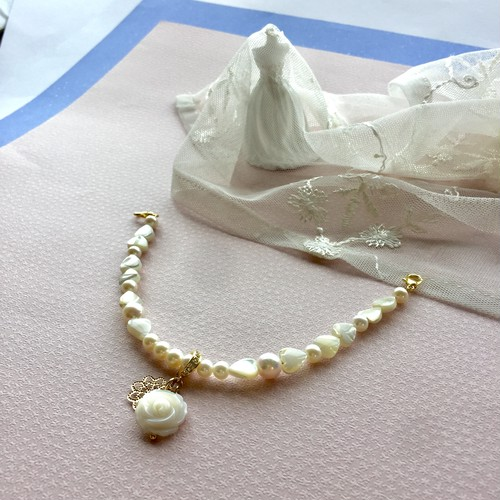 本真珠の羽織紐 兼用 ブレスレット 薔薇クリッカー式 母貝 マザーオブパール ハート パワーストーン 送料無料