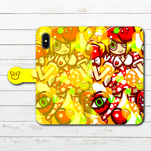 #070-004 手帳型iPhoneケース 手帳型スマホケース 全機種対応 iPhoneX ポップ かわいい Xperia iPhone5/6/6s/7/8 ARROWS AQUOS おしゃれ 可愛い Galaxy HUAWEI Zenfone タイトル:リンゴちゃん 作:プラネ
