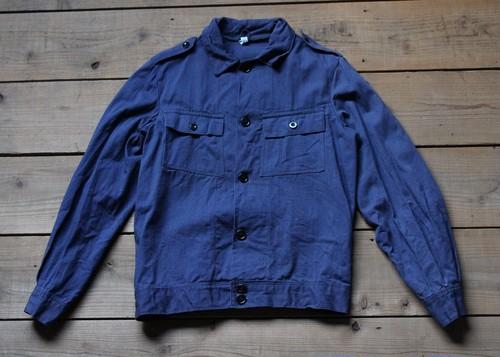 (Fn2007) ポーランド製 ワークジャケット カバーオール エポレット DEAD STOCK ネイビー 175