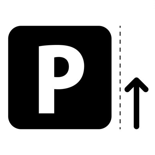 パーキング・駐車場案内マーク(矢印付き)のカッティングシートステッカー