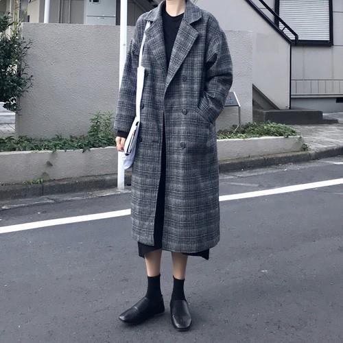 グレンチェック ミモレ丈 ロングウールコート【1049】