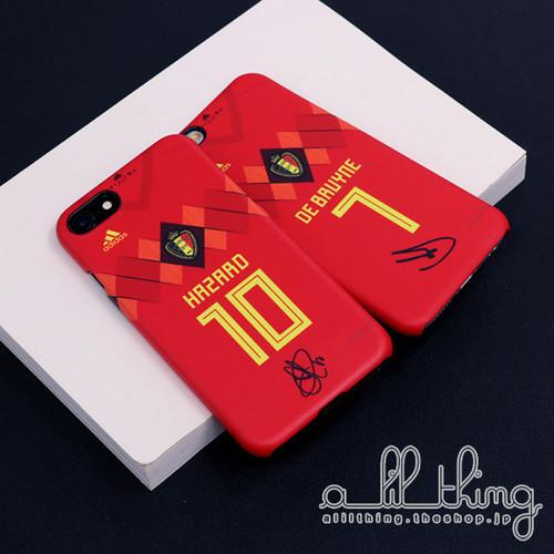 「WC2018」ベルギー ロシアW杯 ワールドカップ ホームユニフォーム エデンアザール サイン入り iPhoneX iPhone8 ケース