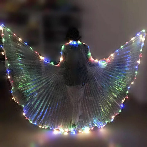 二つ LEDライトベール ベリーダンスの開閉可能ベール エジプトパフォーマンス LEDの羽