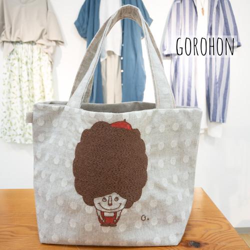 ビッグアフロちゃんトート GOROHON(ゴロホン)さんの刺繍バッグ