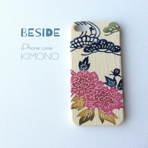【 KIMONO 】希少☆アンティーク着物iPhoneケース(松に牡丹)