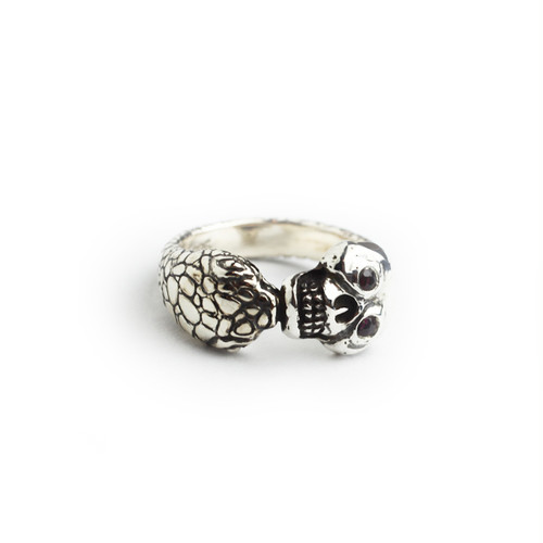 """The Second"" Memento Mori Skull Ring/5K gold&silver with stone eye"