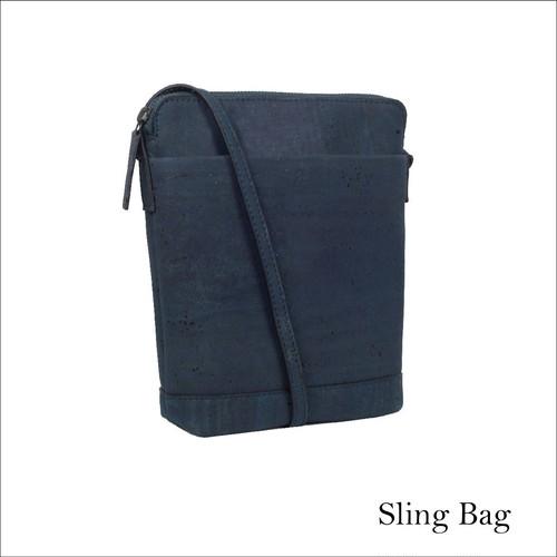 VEGAN CORK SLING BAG  BLUE / ショルダーバッグ コルク製 斜め掛け