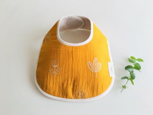 リバーシブルベビースタイ黄色刺繍柄