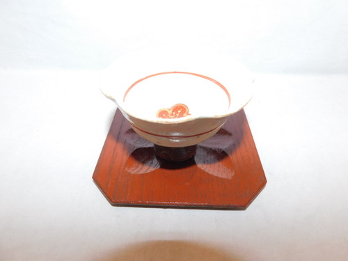 木製四角コースター(5客) wooden Japanese tea six saucers(No28)