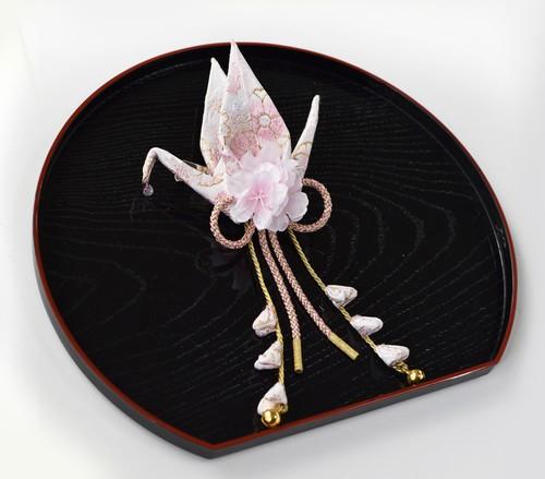 桜の織り鶴ブローチ <ブローチ&クリップタイプ>