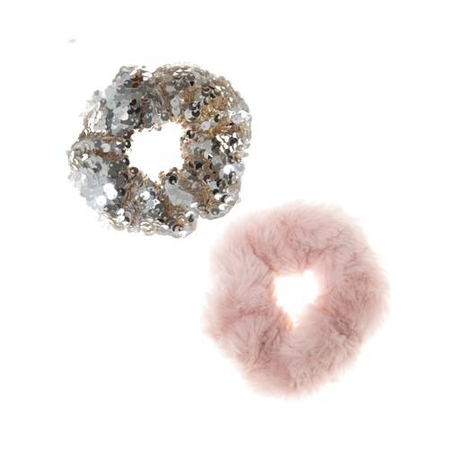 H1443P Shimmer Sequin Scrunchie Set Pink