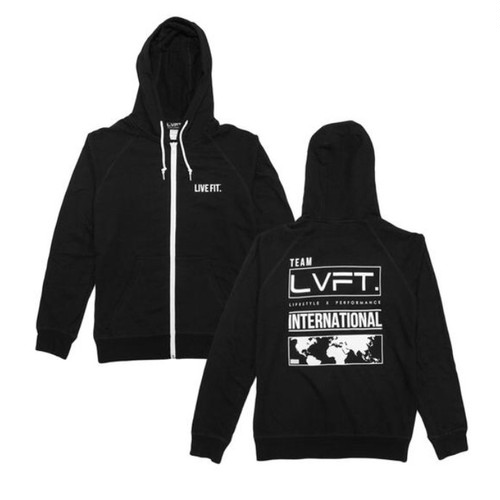 LIVE FIT International Zip Up Hoodie - Black
