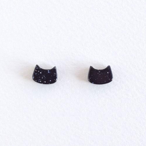 ラメ黒猫 フェイスピアス&イヤリング