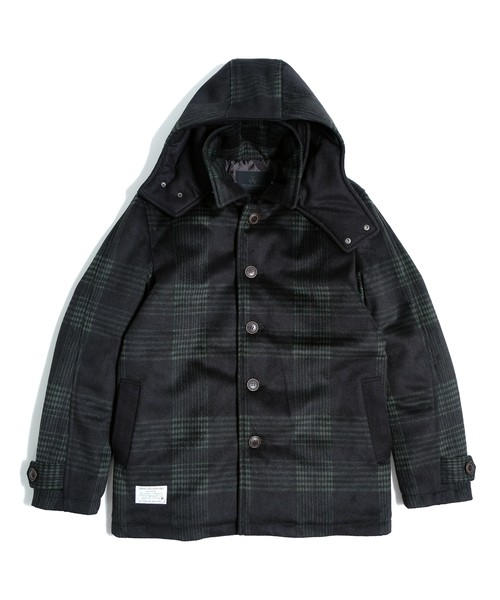 "VIRGOwearworks / ヴァルゴウエアワークス |【SALE!!】 "" CHECK WOOL HOODIE COAT "" - Green Check"
