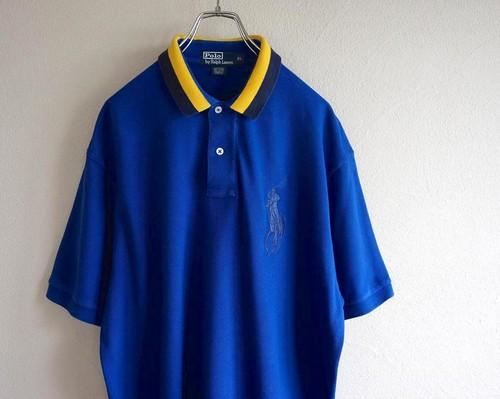 [Ralph Lauren] ビッグポニー刺繍 ポロシャツ ブルー×イエロー 表記(XL) ラルフローレン