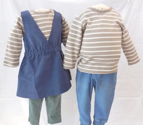 ジャンパードレス風ドッキングワンピース&長袖Tシャツ(ベージュ) 双子ベビー服2枚セット ミックスツイン <18aw-mt004r-6>
