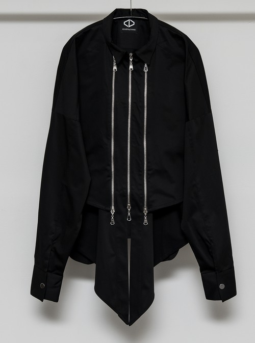 3Line Zip Shirts Set (Blouson + Sleeveless) (Black)
