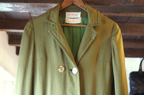 60's Lord & Taylor olive linen spring Coat