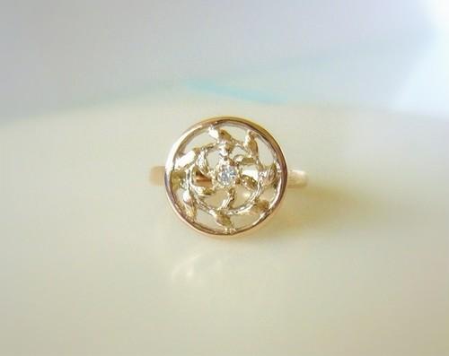 Spiral Leaf & Diamond Ring Ⅰ