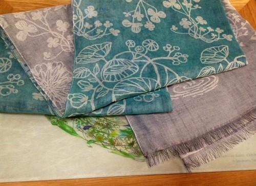 白雲友子「369ミロク」春の新色♪風通織スカーフ(小).    cotton70%+silk30% Spring scarf(S)