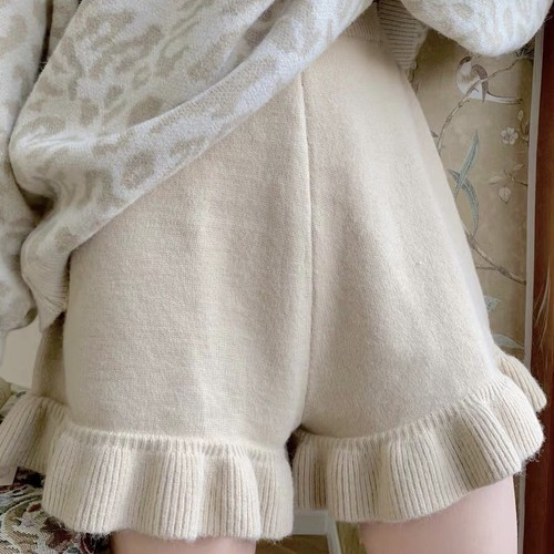 hem frill knit short pants 2c's