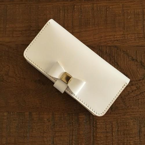イタリアンレザーブッテーロのiPhone8plus/7plus/6plus着せ替えリボンタイプ /手帳型ケース
