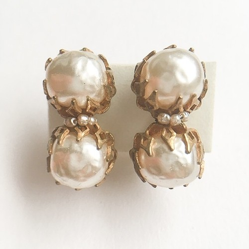 """Miriam Haskell"" double pearl earring[e-960]"