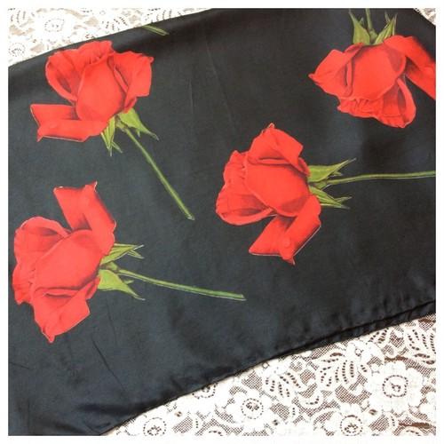 ヴィンテージ スカーフ シルクスカーフ バラ ブラック