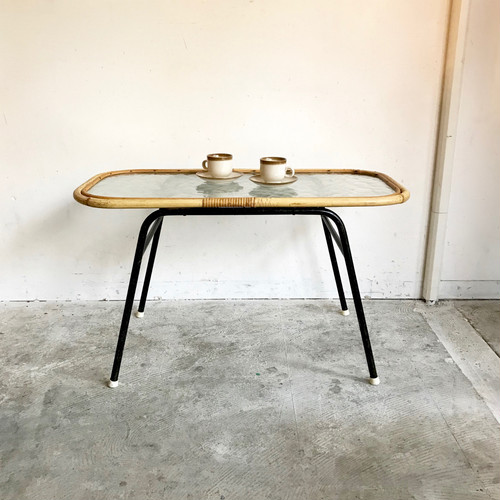 """Rohé"" Glass Top × Rattan Coffee Table 1960's オランダ"