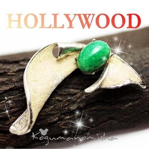 英国 HOLLYWOOD★グリーン マーブル カボッションガラス シュガーエナメル ヴィンテージ ブローチ 1950s リボン