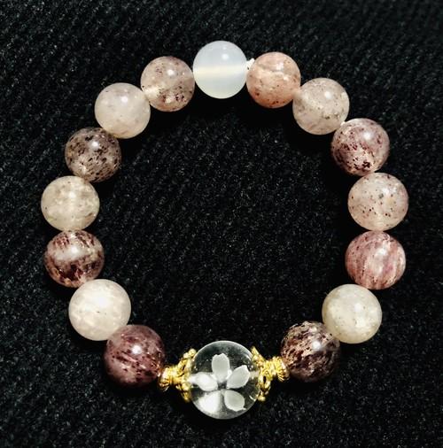 桜柄水晶×ピンクエピドート×ホワイトカルセドニー