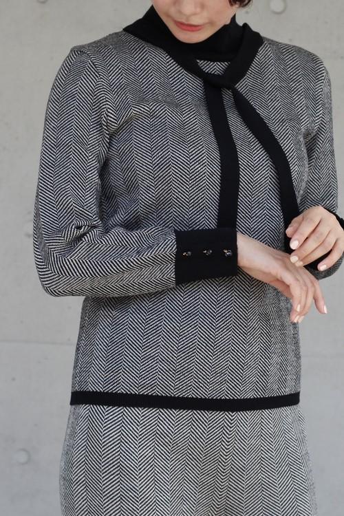 【leur logette】wool herring bone knit