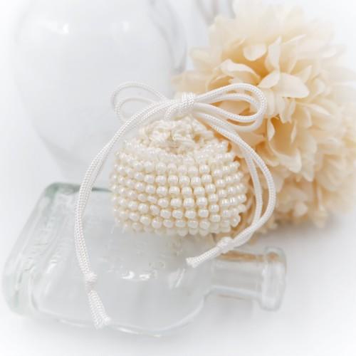 MinikinS ビーズ編みのミニミニ巾着*ホワイト