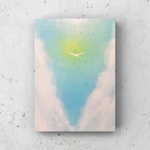 「空の彼方」 キャンバスパネル風景画