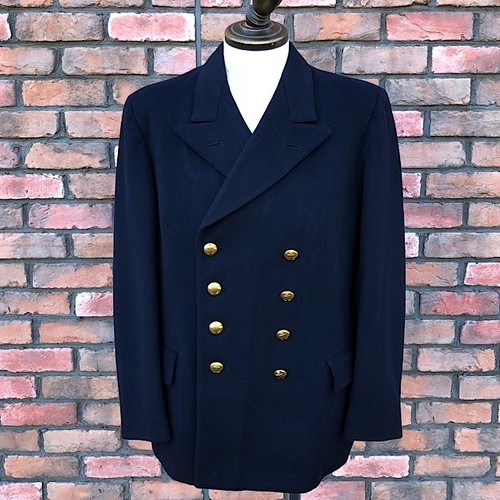 Vintage Swedish Military Navy Officer's Double Breasted Blazer