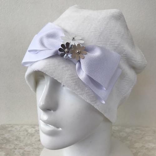 お花とリボンのケア帽子 ベロア ホワイト