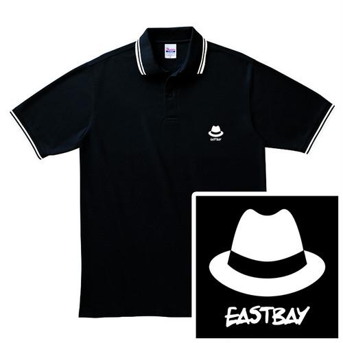 ハット刺繍 ポロシャツ / 黒
