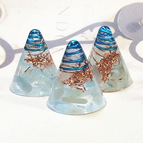 ミニ円錐型 アクアマリンオルゴナイト 3個セット