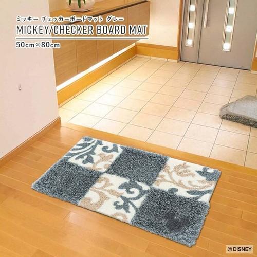 【最短3営業日で出荷】ラグマット ディズニー ミッキー チェッカーボードマット グレー 50cm×80cm Disney MICKEY/Checker board MAT スミノエ SUMINOE ラグ フロアマット