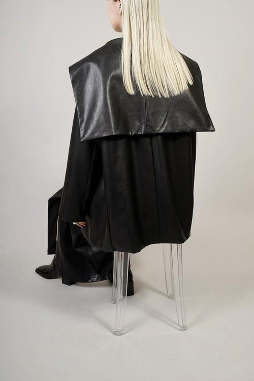 FAUX LEATHER SAILOR COLLAR SHORT COAT  (BLACK) 2102-411-HK61