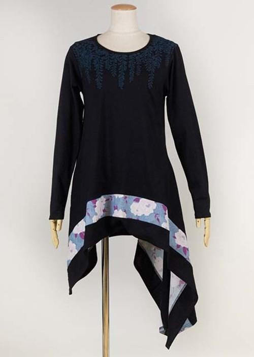 gouk 藤の花をプリントした裾がアシンメトリーで長めな丈のトップス 黒 GGD27-T033 BK/M