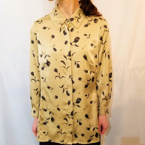 JAEGER  Flower pattern blouse /Made In Great Britain [1246]