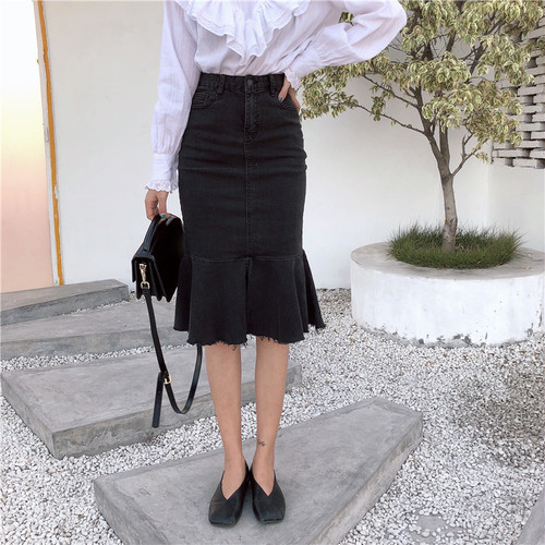 【即納】high waist fishtail skirt 5337