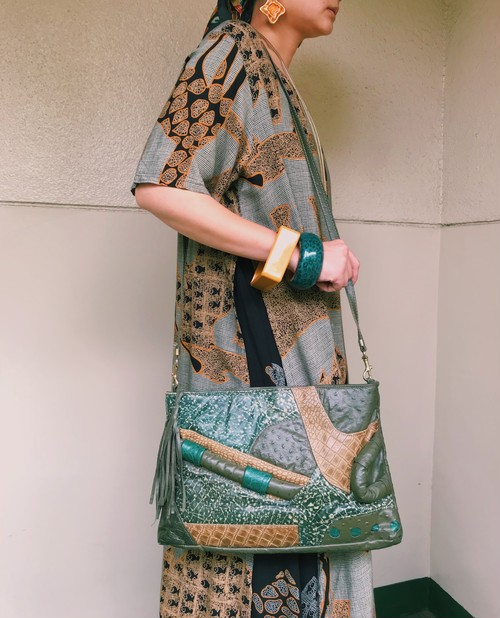 80s olive green leather 2way bag ( ヴィンテージ  オリーブ グリーン レザーバッグ )
