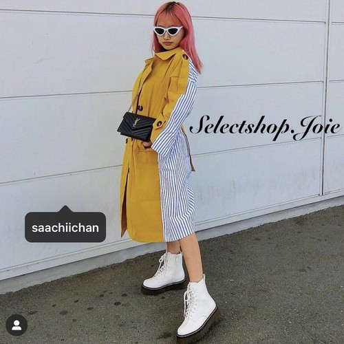 【saachiichan様着用】ストライプシャツ イエロートレンチコート